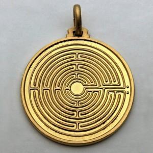 Medaglia Labirinto - argento laminata oro