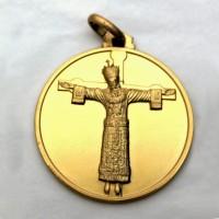 Medaglia Volto Santo a figura intera - argento laminata oro