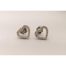 Festa della donna- orecchini cuore in acciaio con pietre preziose-
