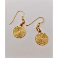 Orecchini labirinto con monachella- Argento laminato oro